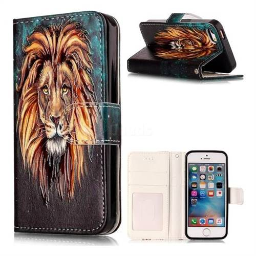 Ice Lion 3D Relief Oil PU Leather Wallet Case for iPhone SE 5s 5