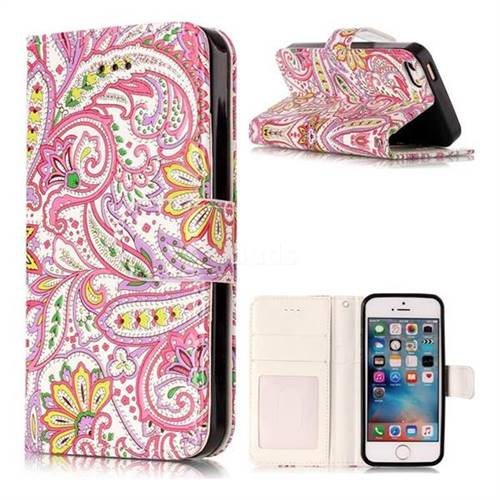 Pepper Flowers 3D Relief Oil PU Leather Wallet Case for iPhone SE 5s 5
