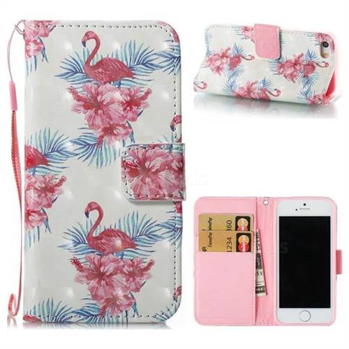 Flamingo and Azaleas 3D Painted Leather Wallet Case for iPhone SE 5s 5