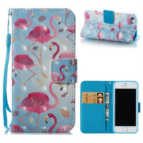 Foraging Flamingo 3D Painted Leather Wallet Case for iPhone SE 5s 5
