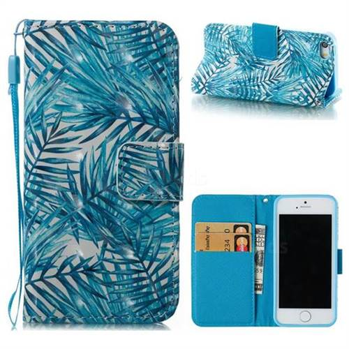 Banana Leaves 3D Painted Leather Wallet Case for iPhone SE 5s 5