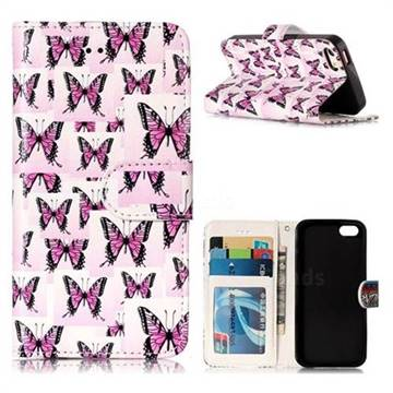 Butterflies Stickers 3D Relief Oil PU Leather Wallet Case for iPhone SE 5s 5