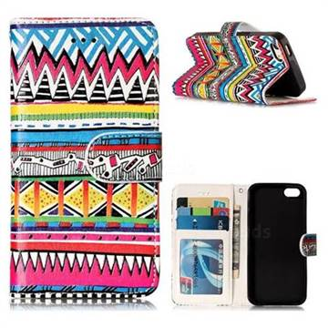 Tribal Pattern 3D Relief Oil PU Leather Wallet Case for iPhone SE 5s 5