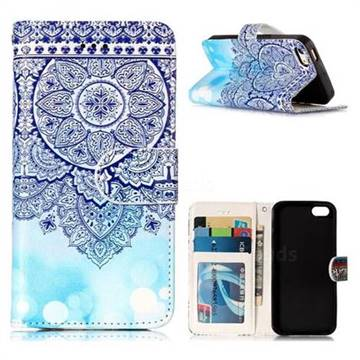 Totem Flower 3D Relief Oil PU Leather Wallet Case for iPhone SE 5s 5