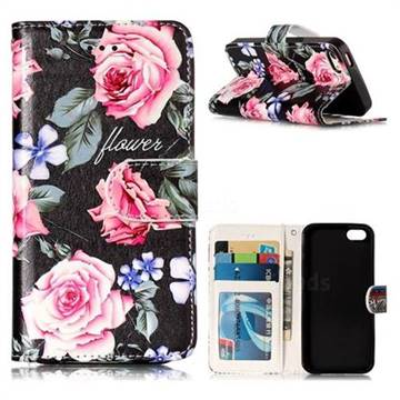 Peony 3D Relief Oil PU Leather Wallet Case for iPhone SE 5s 5