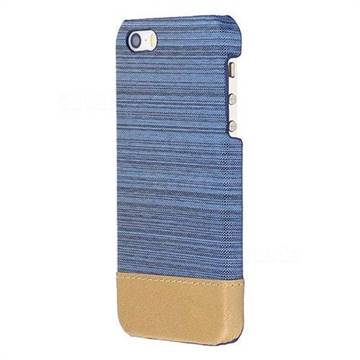 Canvas Cloth Coated Plastic Back Cover for iPhone SE 5s 5 - Light Blue
