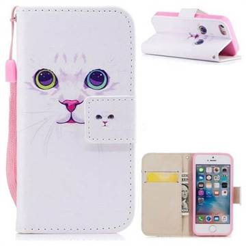 White Cat PU Leather Wallet Case for iPhone SE 5s 5