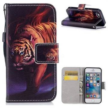 Mighty Tiger PU Leather Wallet Case for iPhone SE 5s 5