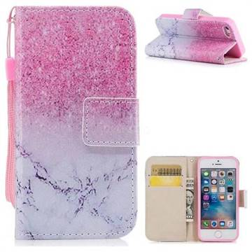 Marble Powder PU Leather Wallet Case for iPhone SE 5s 5
