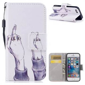 Middle Finger PU Leather Wallet Case for iPhone SE 5s 5