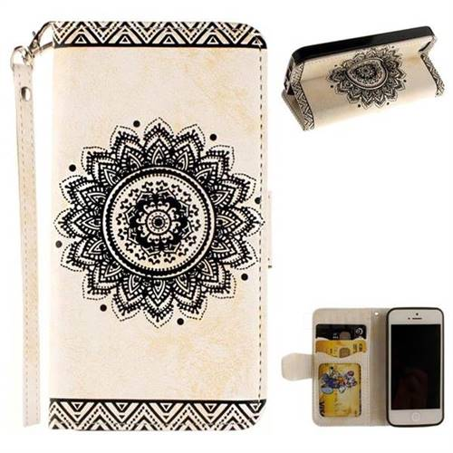 Embossed Datura Flower PU Leather Wallet Case for iPhone SE 5s 5 - White