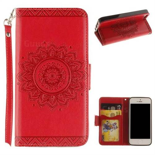 Embossed Datura Flower PU Leather Wallet Case for iPhone SE 5s 5 - Red