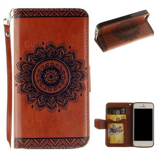 Embossed Datura Flower PU Leather Wallet Case for iPhone SE 5s 5 - Brown