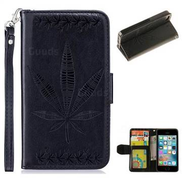 Intricate Embossing Maple Leather Wallet Case for iPhone SE 5s 5 - Black