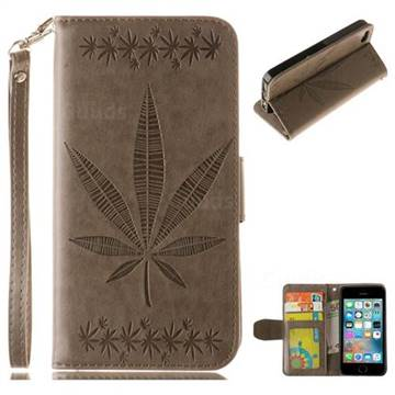 Intricate Embossing Maple Leather Wallet Case for iPhone SE 5s 5 - Gray