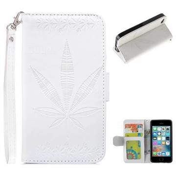 Intricate Embossing Maple Leather Wallet Case for iPhone SE 5s 5 - White