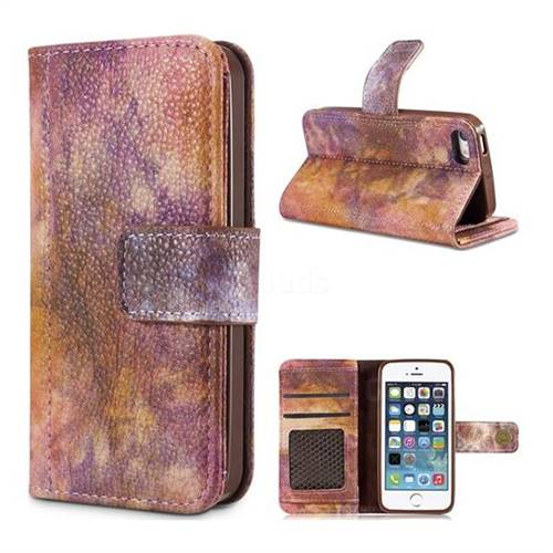 Luxury Retro Forest Series Leather Wallet Case for iPhone SE 5s 5 - Purple