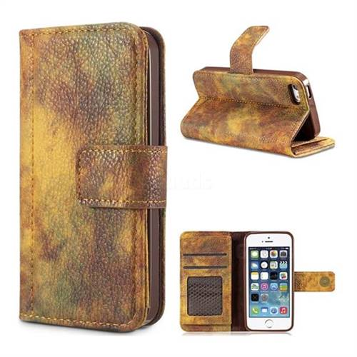 Luxury Retro Forest Series Leather Wallet Case for iPhone SE 5s 5 - Yellow
