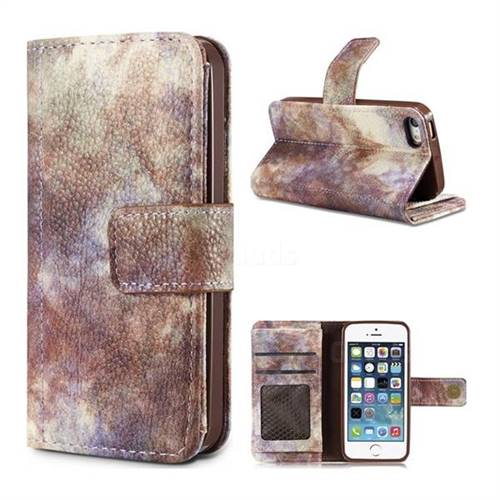 Luxury Retro Forest Series Leather Wallet Case for iPhone SE 5s 5 - White