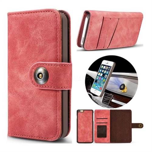 Luxury Vintage Split Separated Leather Wallet Case for iPhone SE 5s 5 - Carmine