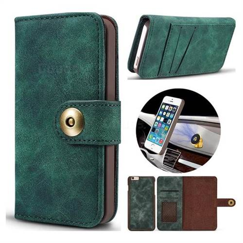 Luxury Vintage Split Separated Leather Wallet Case for iPhone SE 5s 5 - Dark Green