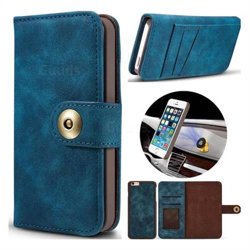 Luxury Vintage Split Separated Leather Wallet Case for iPhone SE 5s 5 - Navy Blue