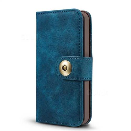 buy popular 0f7e7 93e21 Luxury Vintage Split Separated Leather Wallet Case for iPhone SE 5s 5 -  Navy Blue