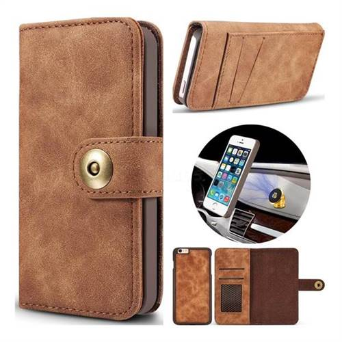 Luxury Vintage Split Separated Leather Wallet Case for iPhone SE 5s 5 - Brown
