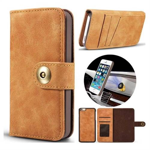 Luxury Vintage Split Separated Leather Wallet Case for iPhone SE 5s 5 - Khaki