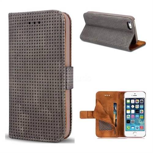 Luxury Vintage Mesh Monternet Leather Wallet Case for iPhone SE 5s 5 - Black