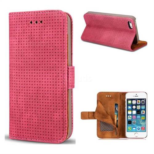Luxury Vintage Mesh Monternet Leather Wallet Case for iPhone SE 5s 5 - Rose