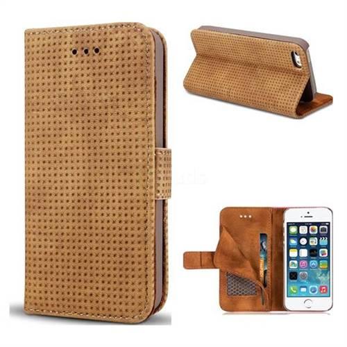 Luxury Vintage Mesh Monternet Leather Wallet Case for iPhone SE 5s 5 - Brown