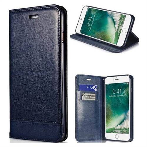 Magnetic Suck Stitching Slim Leather Wallet Case for iPhone SE 5s 5 - Sapphire