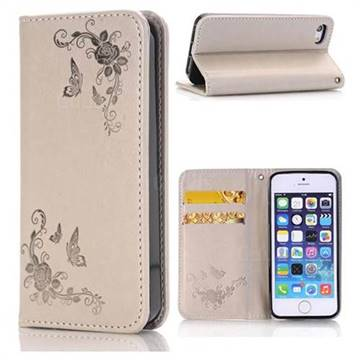 half off 76e7e 14890 Intricate Embossing Slim Butterfly Rose Leather Holster Case for iPhone SE  5s 5 - Grey