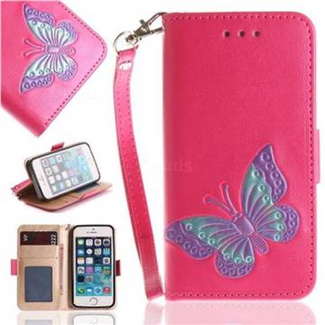 Imprint Embossing Butterfly Leather Wallet Case for iPhone SE 5s 5 - Rose Red