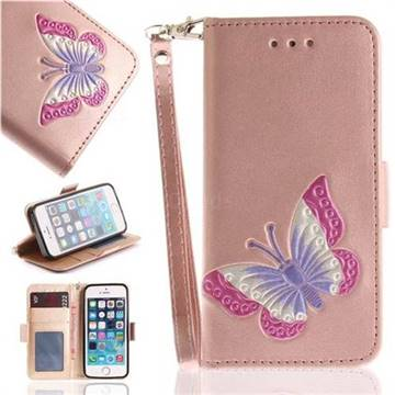 Imprint Embossing Butterfly Leather Wallet Case for iPhone SE 5s 5 - Rose Gold