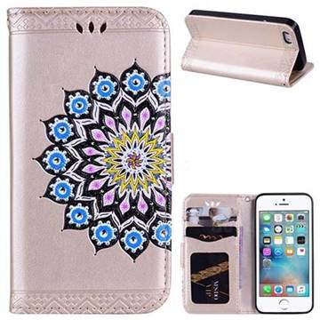 Datura Flowers Flash Powder Leather Wallet Holster Case for iPhone SE 5s 5 - Golden