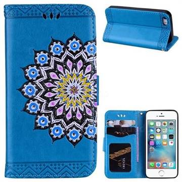 Datura Flowers Flash Powder Leather Wallet Holster Case for iPhone SE 5s 5 - Blue