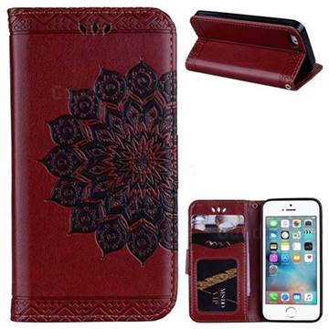 Datura Flowers Flash Powder Leather Wallet Holster Case for iPhone SE 5s 5 - Brown