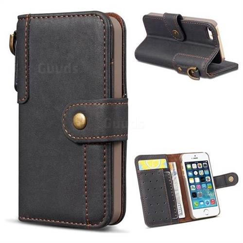 Retro Luxury Cowhide Leather Wallet Case for iPhone SE 5s 5 - Black