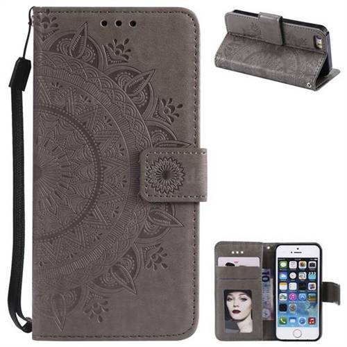 Intricate Embossing Datura Leather Wallet Case for iPhone SE 5s 5 - Gray