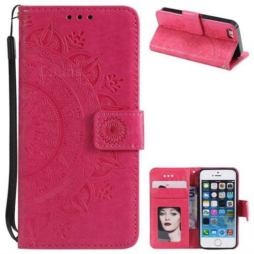 Intricate Embossing Datura Leather Wallet Case for iPhone SE 5s 5 - Rose Red