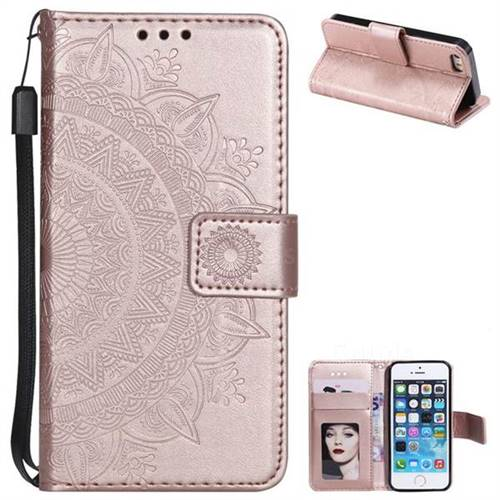 Intricate Embossing Datura Leather Wallet Case for iPhone SE 5s 5 - Rose Gold