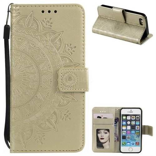Intricate Embossing Datura Leather Wallet Case for iPhone SE 5s 5 - Golden