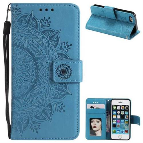 Intricate Embossing Datura Leather Wallet Case for iPhone SE 5s 5 - Blue