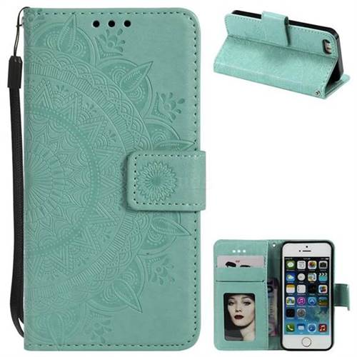 Intricate Embossing Datura Leather Wallet Case for iPhone SE 5s 5 - Mint Green