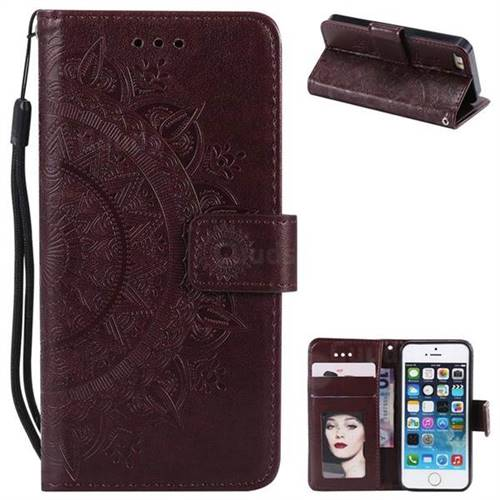 Intricate Embossing Datura Leather Wallet Case for iPhone SE 5s 5 - Brown