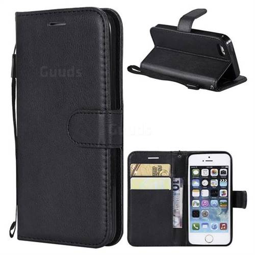 Retro Greek Classic Smooth PU Leather Wallet Phone Case for iPhone SE 5s 5 - Black