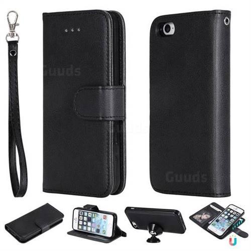Retro Greek Detachable Magnetic PU Leather Wallet Phone Case for iPhone SE 5s 5 - Black