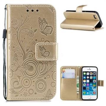 Intricate Embossing Butterfly Circle Leather Wallet Case for iPhone SE 5s 5 - Champagne